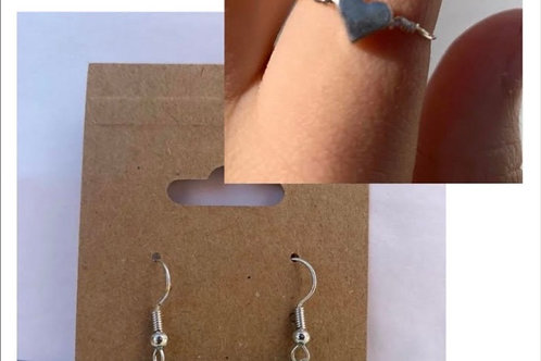 Green Stone Earrings and Heart Ring Set