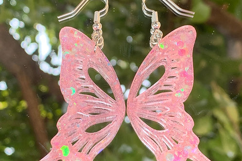 Iridescent Pink Butterfly Wing Earrings