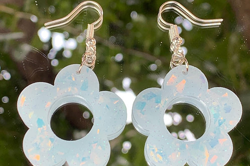 Iridescent Icy Blue Flower Earrings