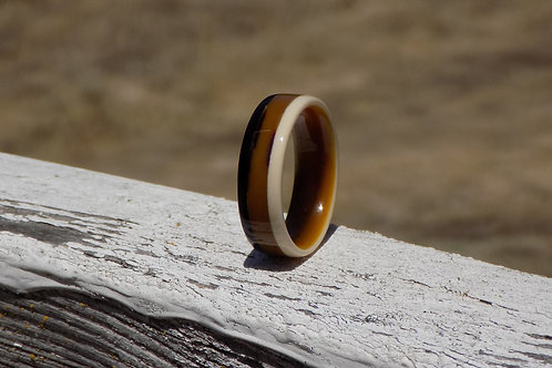 Black, Ivory, and Butterscotch Micarta Ring