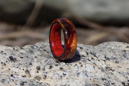 Red Burl and Resin Ring