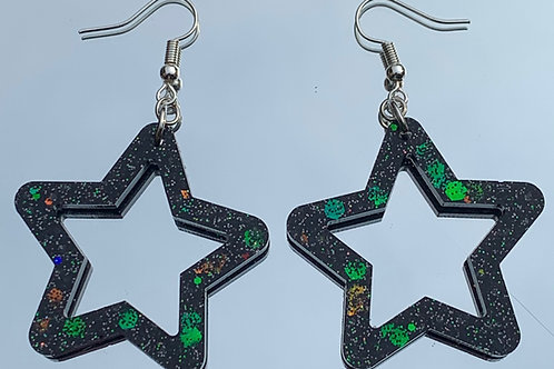 Holographic Black Star Earrings