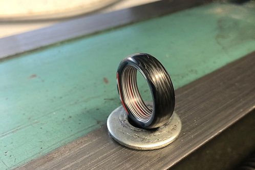 Carbon Fiber and Fordite Ring