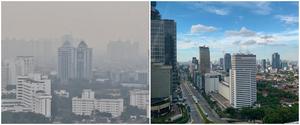 Foto Langit Jakarta Sebelum & Sesudah Pandemi, terlihat bersih setelah diberlakukannya PSBB foto: Merdeka.com/Iqbal S. Nugroho; Twitter/@renjunskies