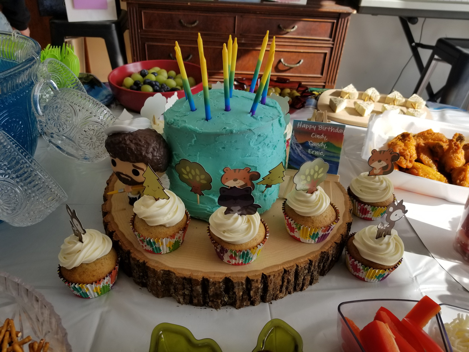 Very Rustic Bob Ross Cake And Cupcakes