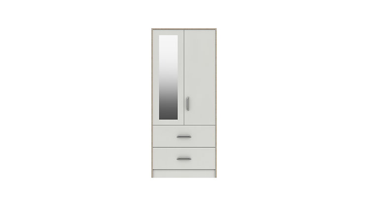 MARLOW RANGE  2 DOOR COMBI WARDROBE WITH MIRROR