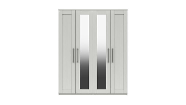ANDANTE RANGE TALL 4 DOOR WARDROBE WITH TWO MIRRORS