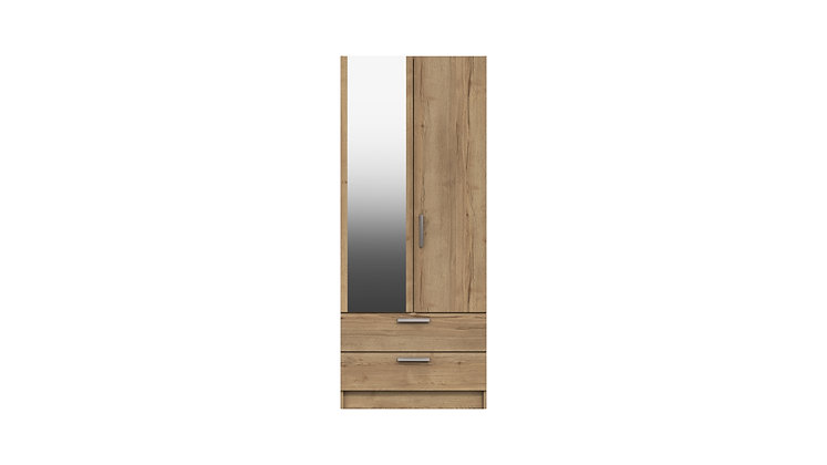 WATERFALL RANGE 2 DOOR COMBI WARDROBE WITH MIRROR