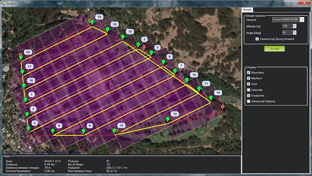 Planejamento de mapeamento aéreo utilizando drones.