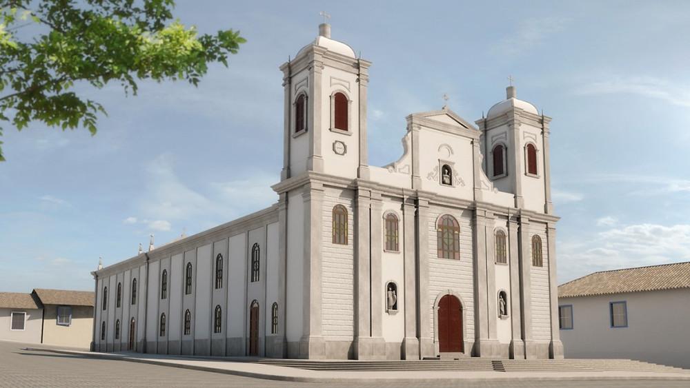 Maquete eletrônica da Igreja de São Luiz do Paraitinga