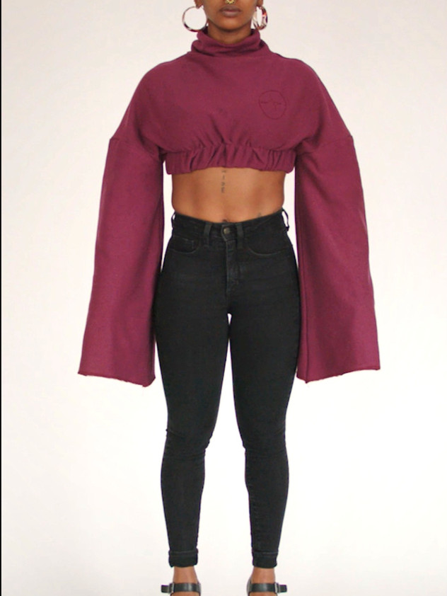 J/T Maroon Cropped Sweater