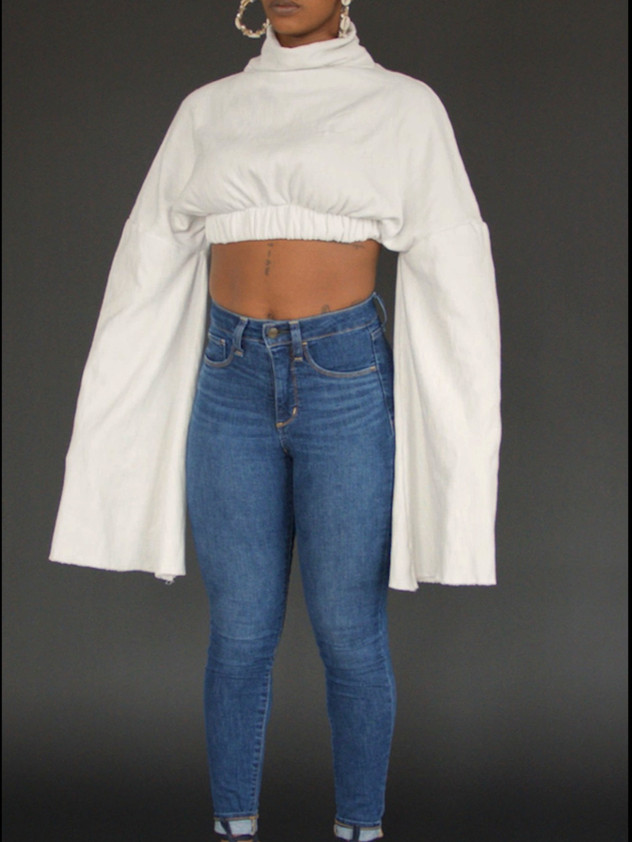 J/T White Cropped Sweater