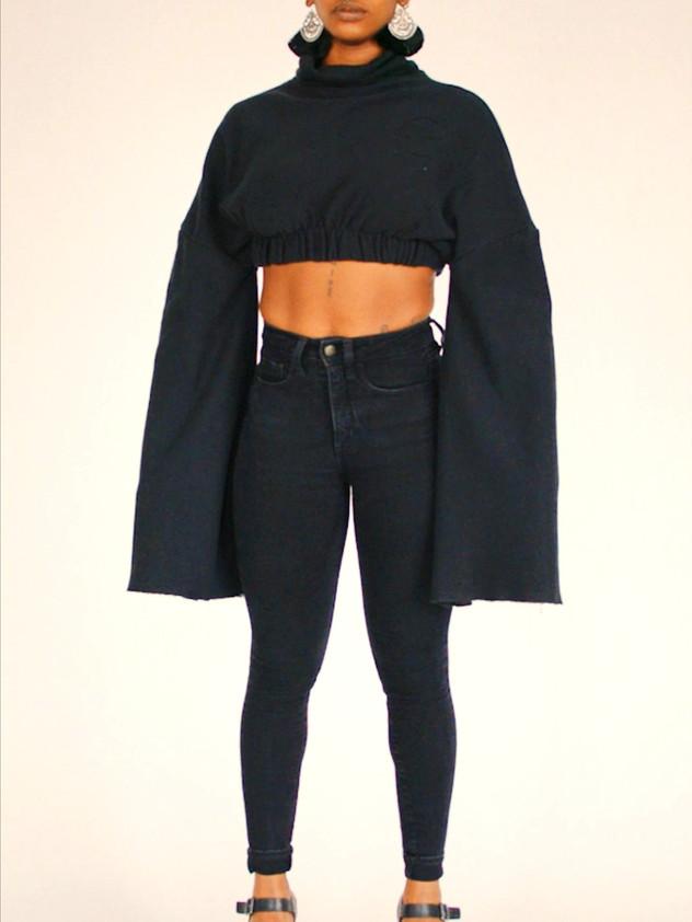 J/T Black Cropped Sweater