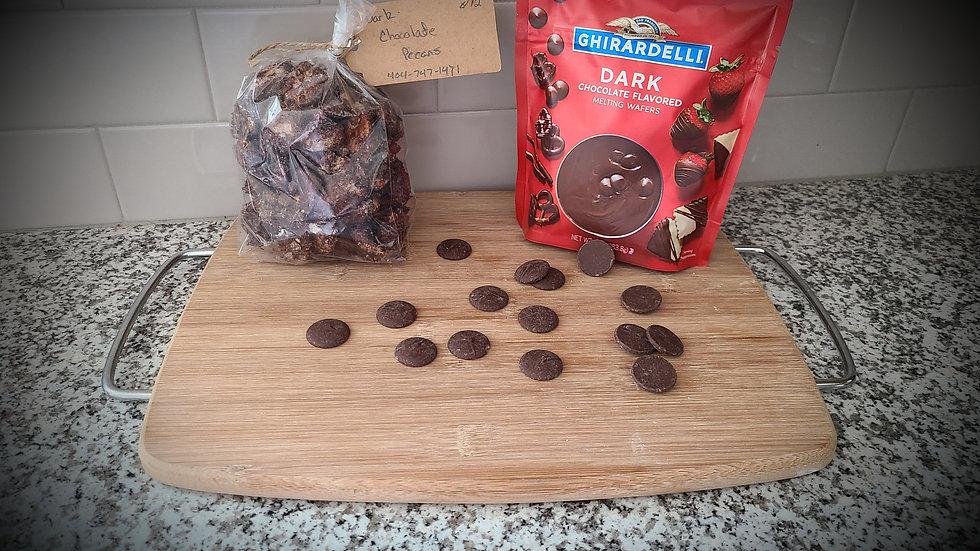 Dark Chocolate Candied Pecans (1 - 9 oz bag total weight)