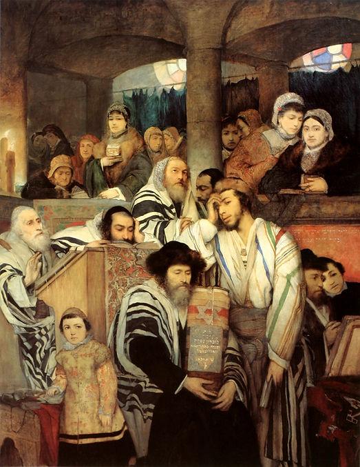 Jewish people praying in Yom Kippur