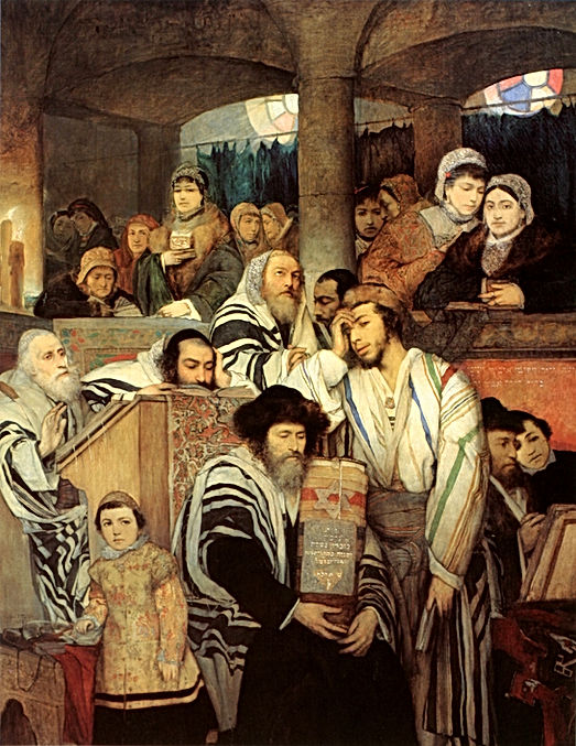 Jewish people praying in Yom Kippur