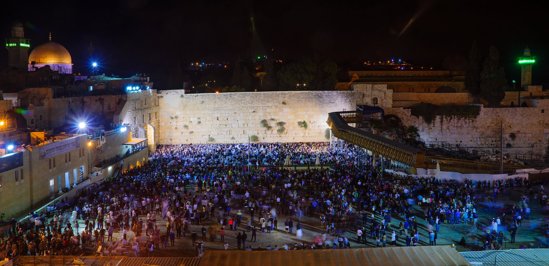 The western wall at night time