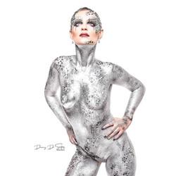 Silver glitter glam bodypaint