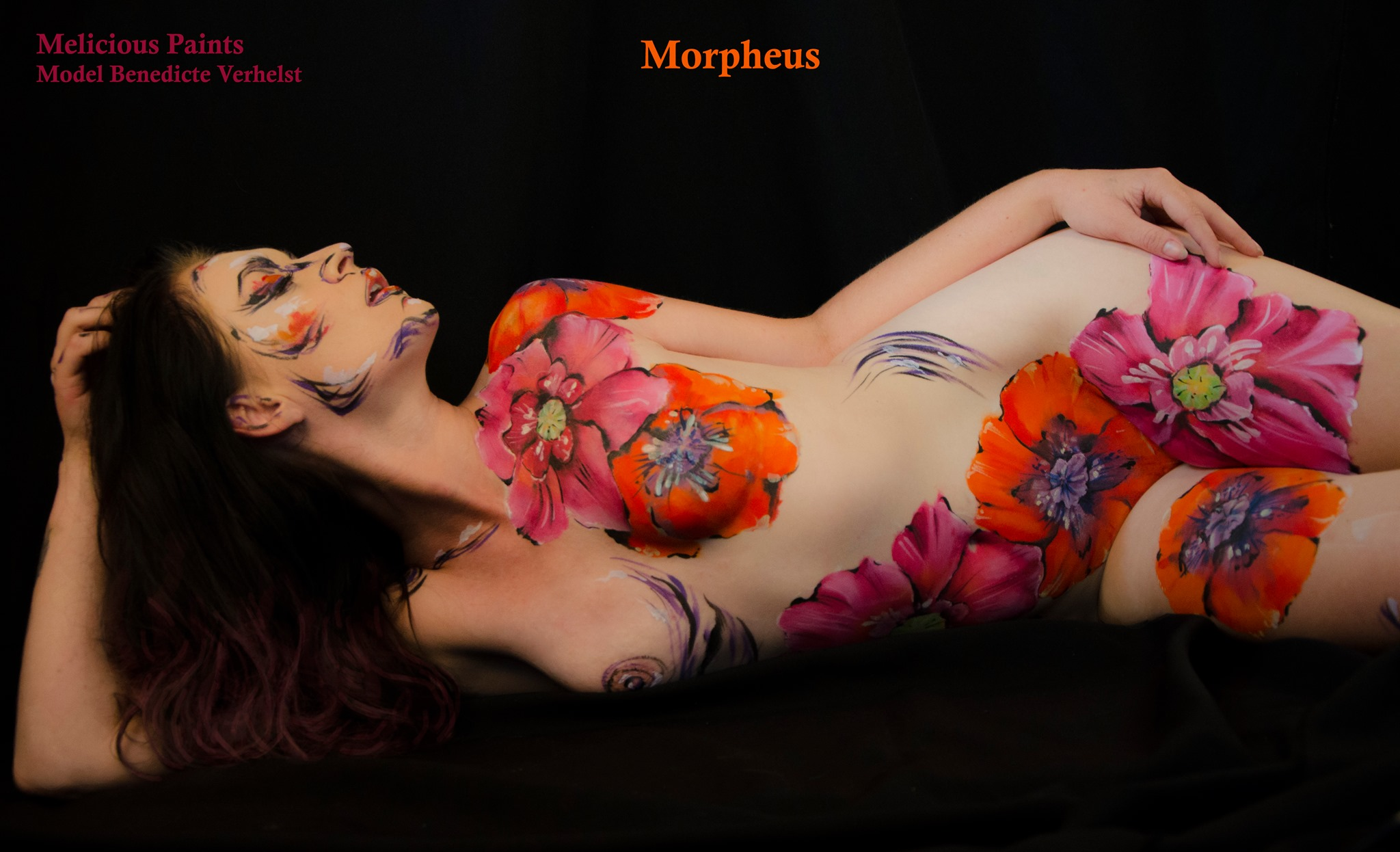 bodypaint drawing style sexy flowers erotic