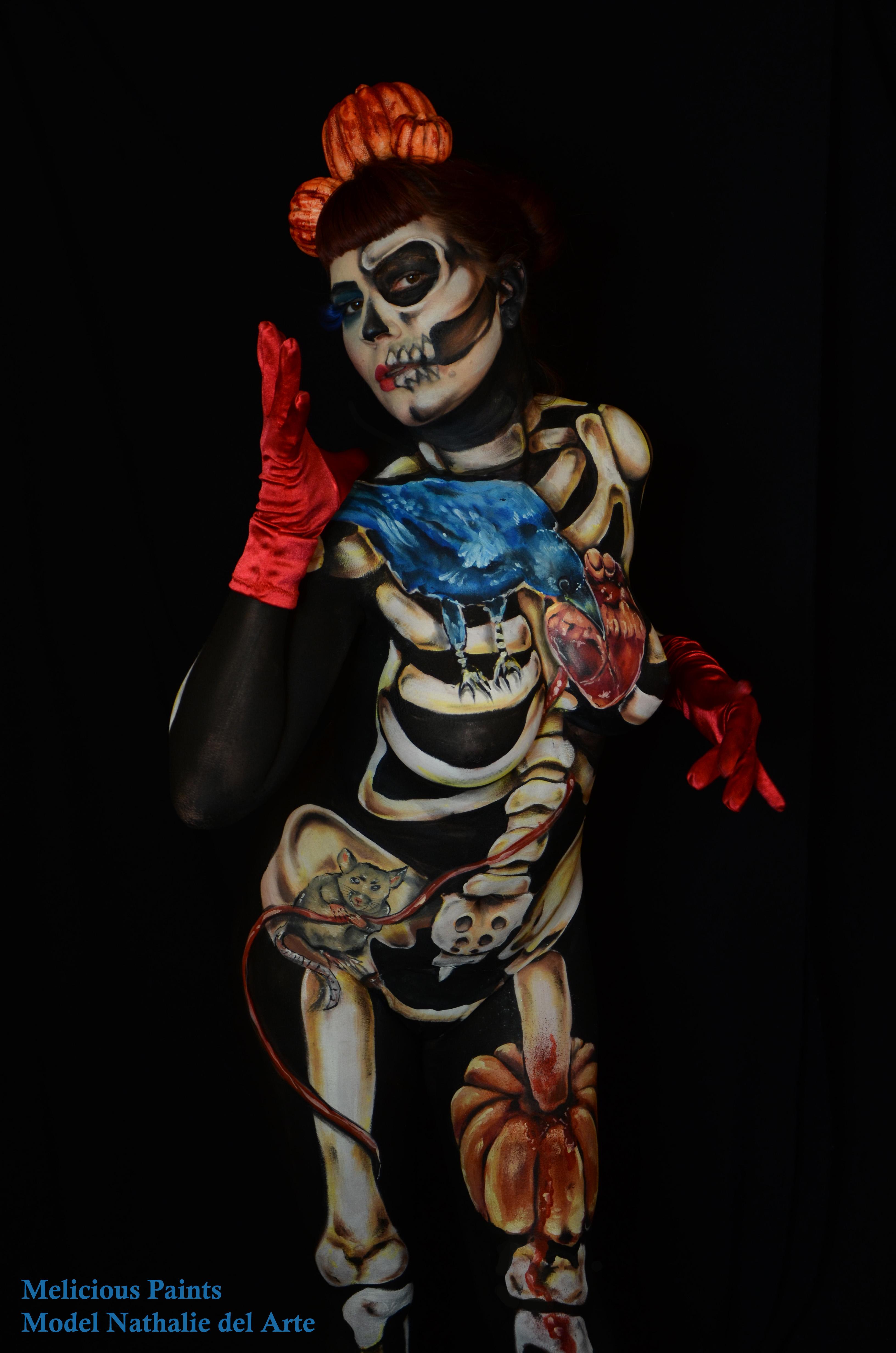 bodypaint Halloween crow heart mouse skill skeleton pumpkin