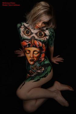 bodypaint tattoo style face owl