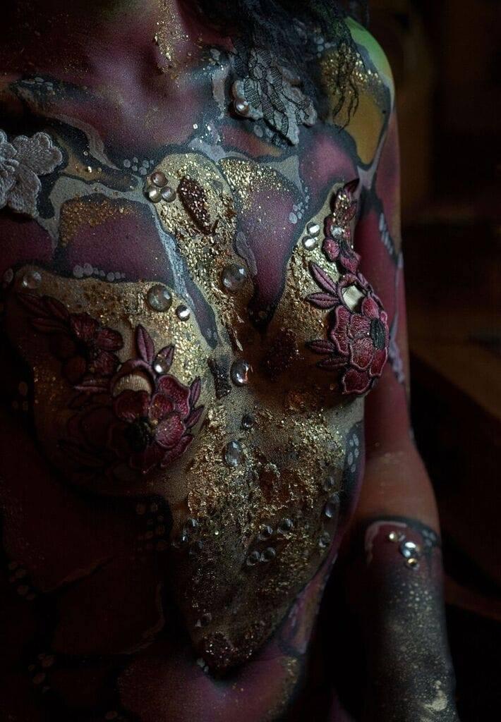 bodypaint lace glitter beauty colour baroque