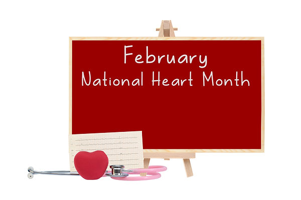 February National Health Month Red board