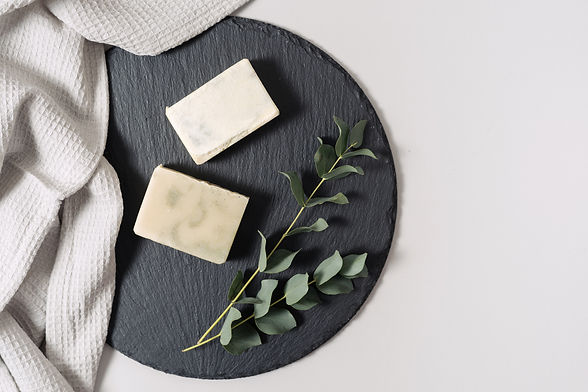 Zero waste cosmetics concept. Flat lay, top view of natural, organic solid handmade soap a