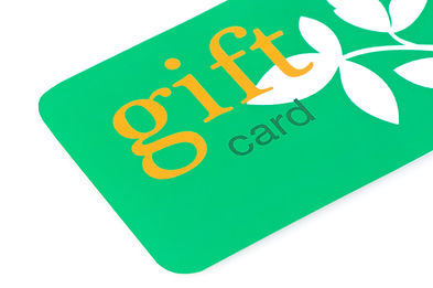 Green gift card with orange text and whi