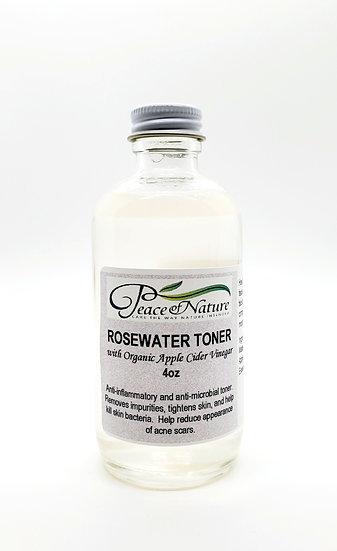 ROSEWATER TONER w/ORGANIC APPLE CIDER