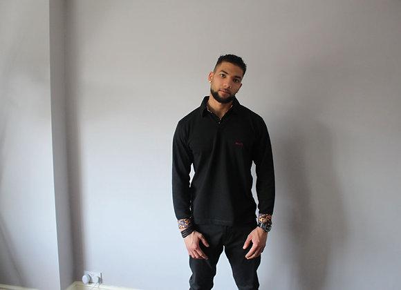 Black long sleeve polo shirt with Ankara inserts