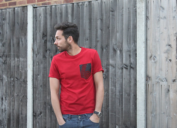 Red t shirt with patch pocket