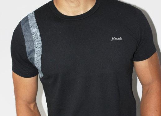 Black t shirt with Jean and Ankara stripes