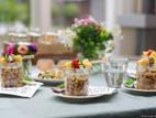 Mason-jar quinoa-salade met fruit (kip) spies