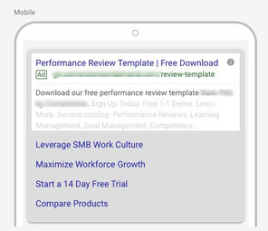Google Search Mobile Ad With Sitelinks