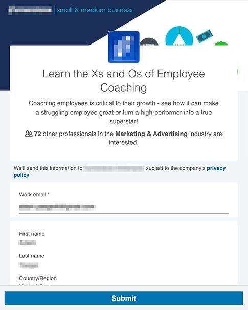LinkedIn Sponsored Content Lead Gen Form