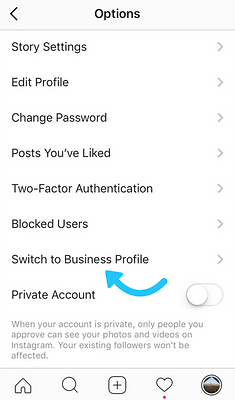Instagram setting up business profile step 1
