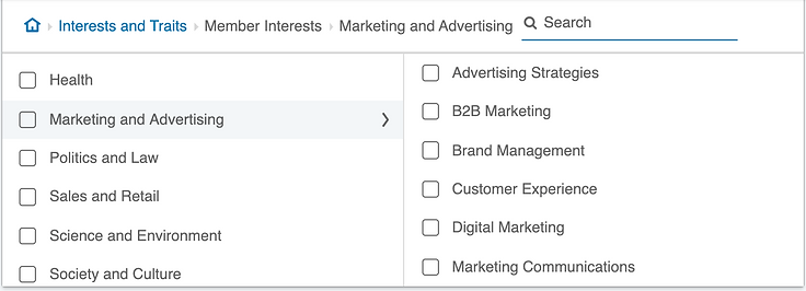Targeting by interests on LinkedIn