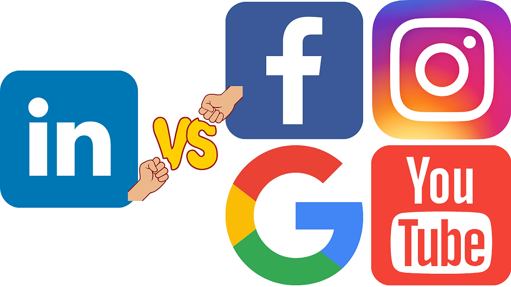 Advertising on LinkedIn vs. Facebook, Instagram, Google, and YouTube