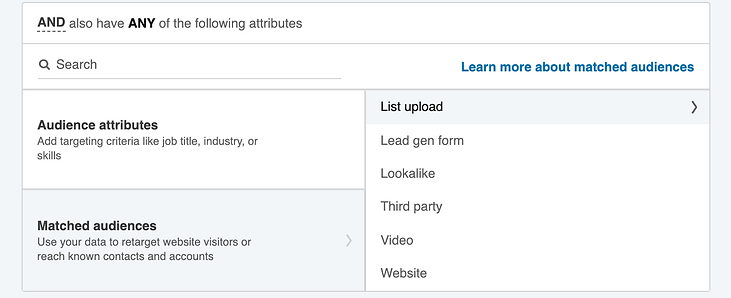 Targeting by account based marketing lists on LinkedIn
