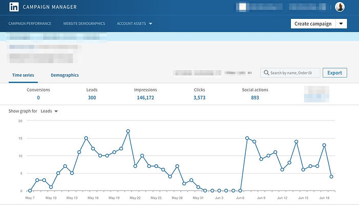 Linkedin ads reporting for lead generation screenshot