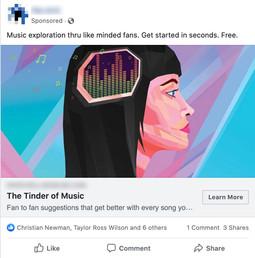 Facebook Music App Download Ad