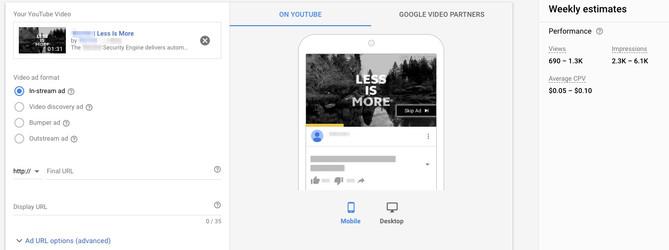 Google Ads InStream Video