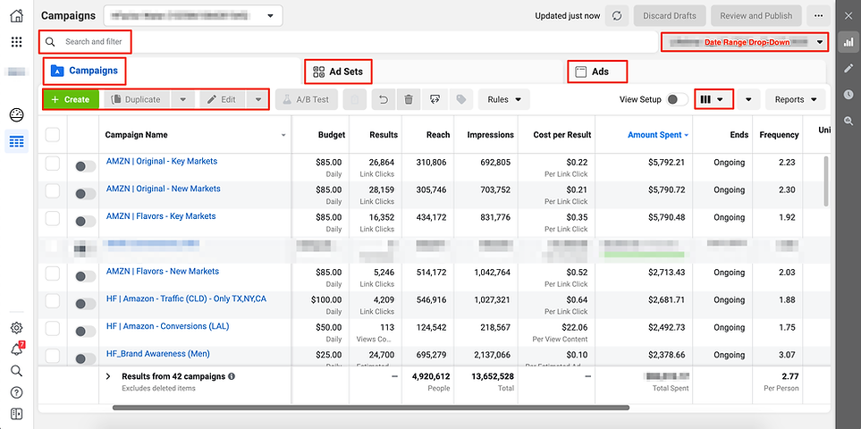 Screenshot example of navigating Facebook Ads Manager
