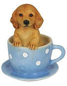 Dog in blue teacup