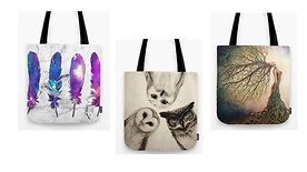 Feathers, owls & tree of life tote bags