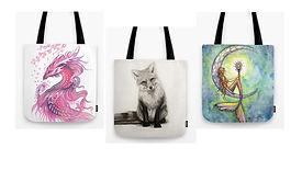 Dragon, fox & mermaid tote bags