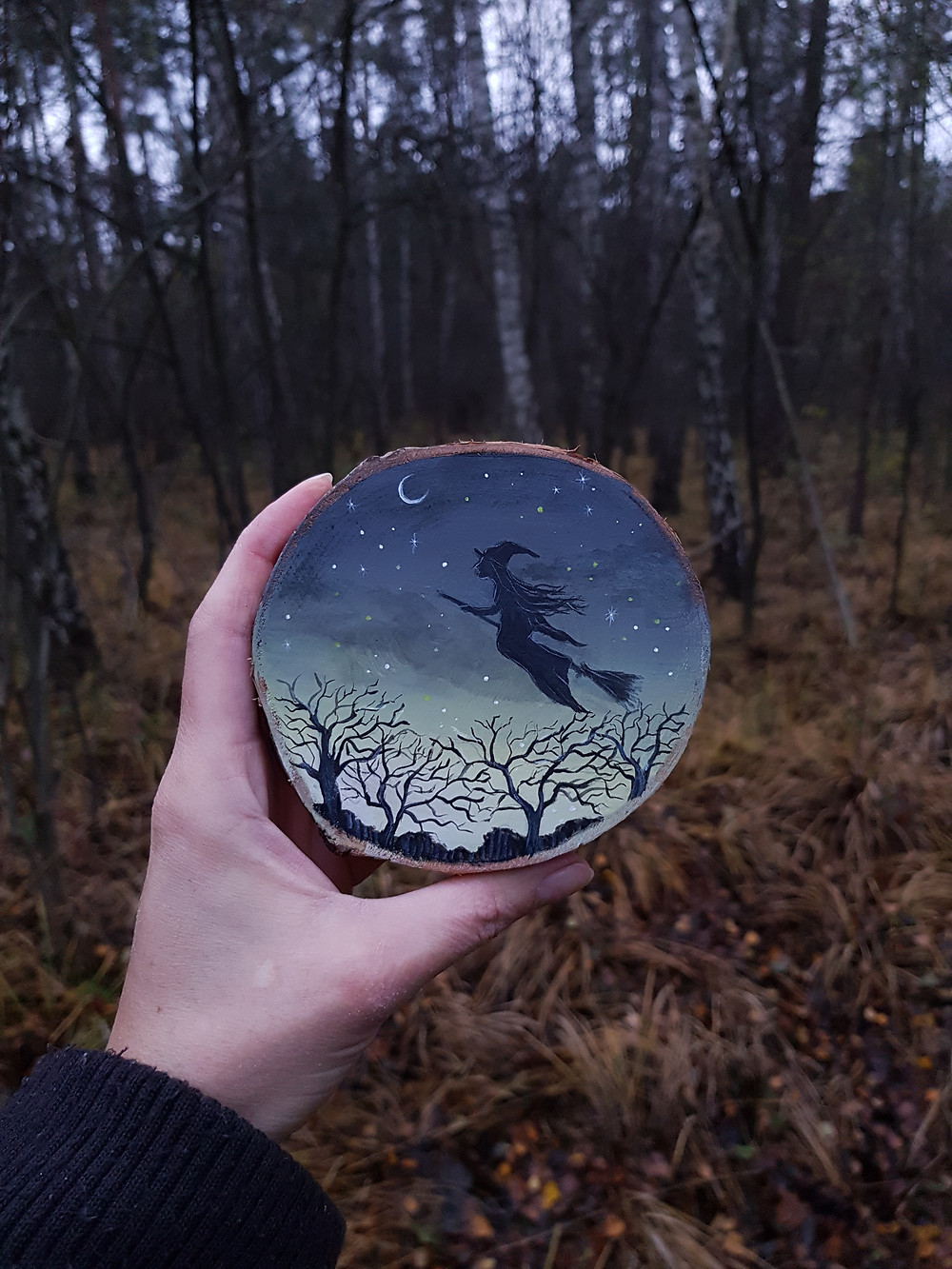 painting on wood witch forest design