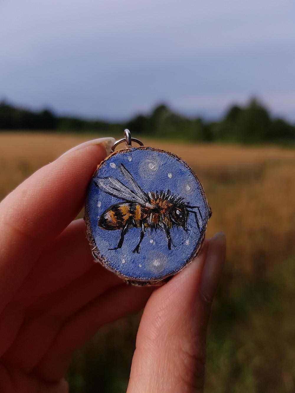 bee painting on wood