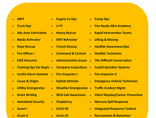 State Fire School Course List